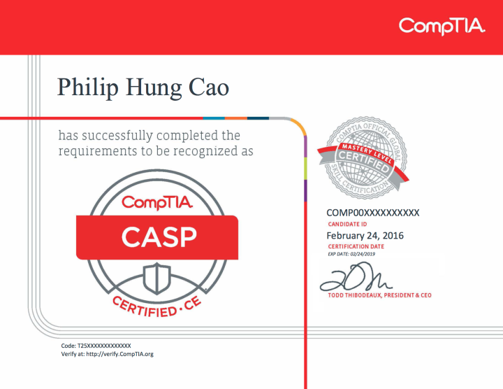 [2016] Philip Hung Cao - CompTIA Advanced Security Practitioner (CASP)