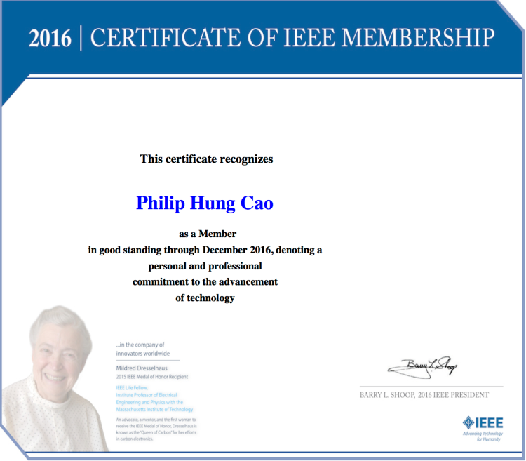 [2016] Philip Hung Cao - IEEE - 2016 Certificate of Membership