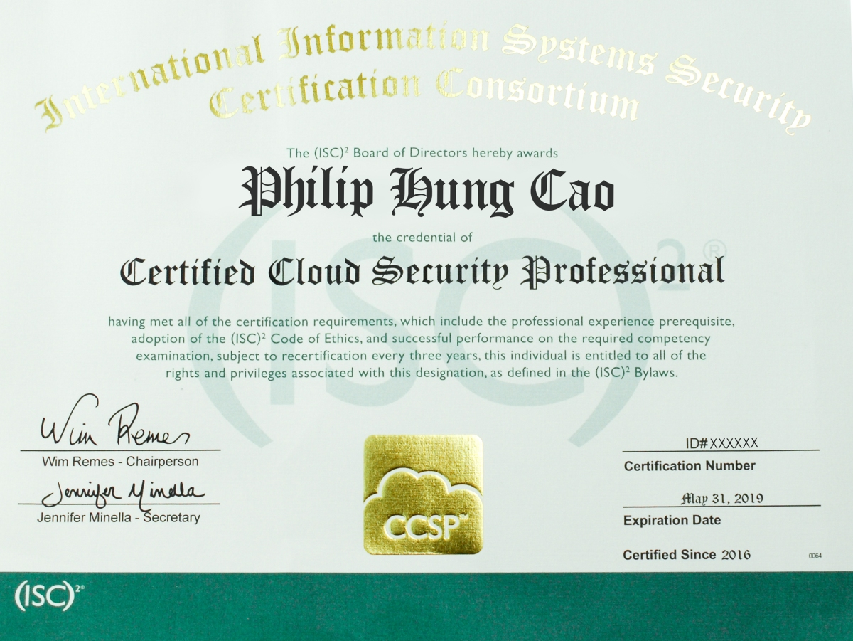 Certified cloud security professional ccsp philiphungcao xflitez Gallery