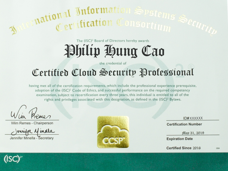 [2016] Philip Hung Cao - Certified Cloud Security Professional (CCSP)