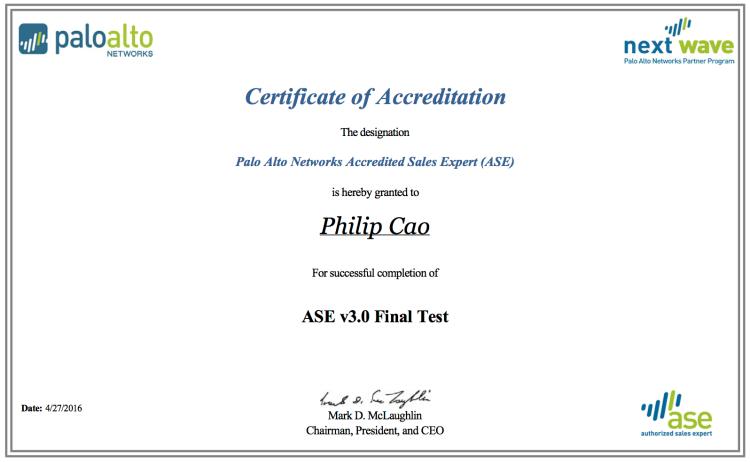[2016] Philip Hung Cao - Palo Alto Networks ASE 3.0