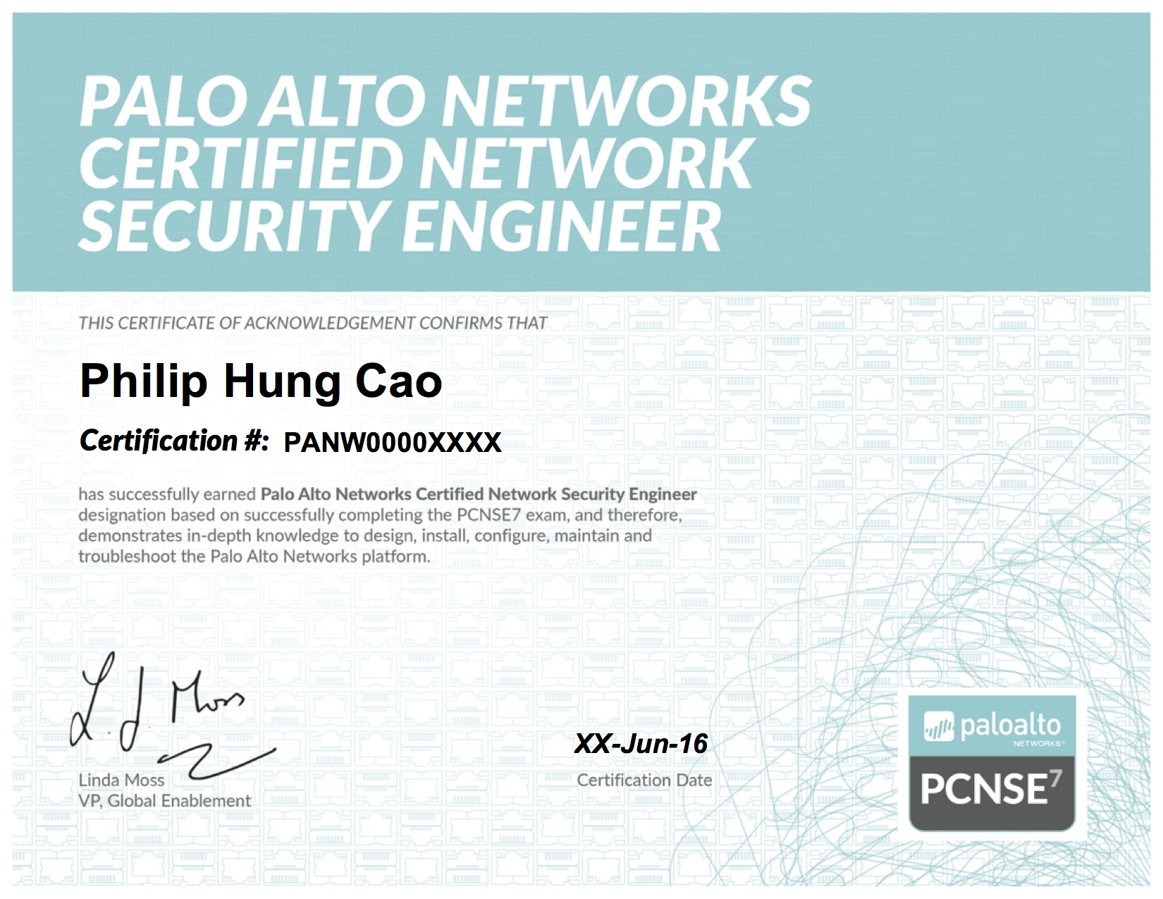 2016 philip hung cao palo alto networks certified network security engineer 7 pcnse7g xflitez Images