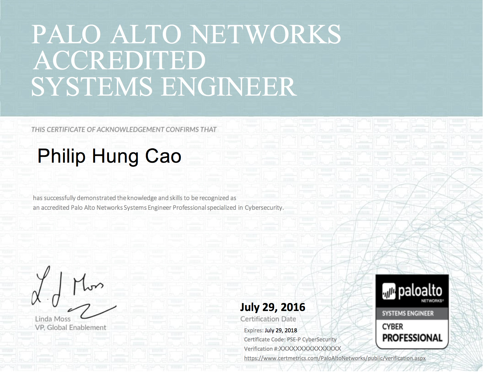 2016 philip hung cao palo alto networks system engineer professional cybersecurityg 1betcityfo Image collections