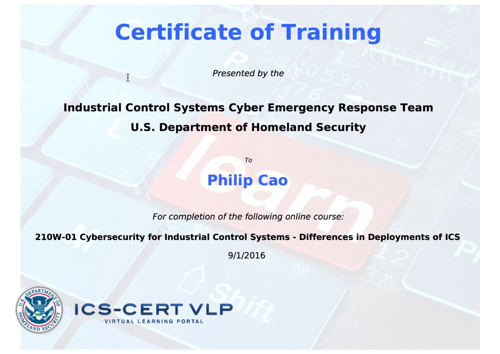 2016 philip hung cao ics cert cybersecurity for industrial control systems differences in deployments of ics certificate of trainingg xflitez Choice Image