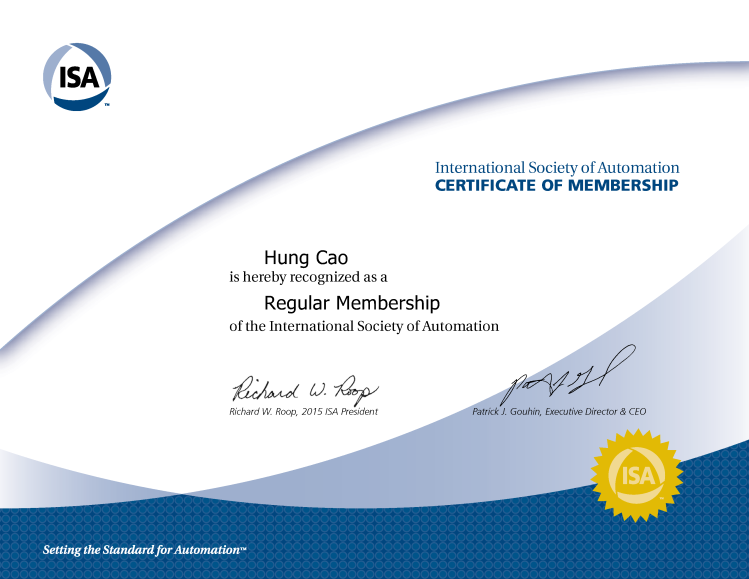 [2016] Philip Hung Cao - International Society of Automation (ISA) - Certificate of Membership