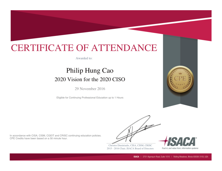 ISACA: 2020 Vision for the 2020 CISO – Certificate of Attendance