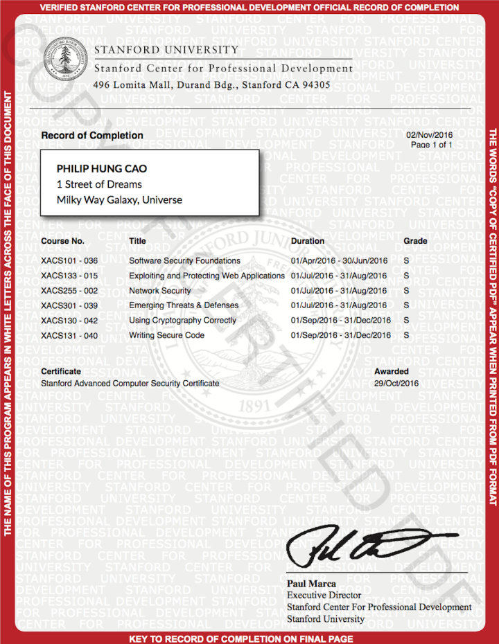 Stanford Advanced Computer Security Certificate (SACS)