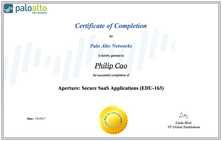 Aperture: Secure SaaS Applications (EDU-163) – Certificate of Completion