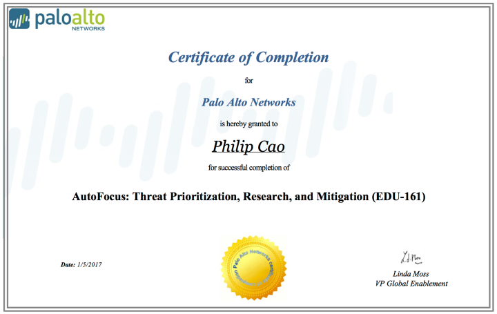 AutoFocus: Threat Prioritization, Research, and Mitigation (EDU-161) – Certificate of Completion