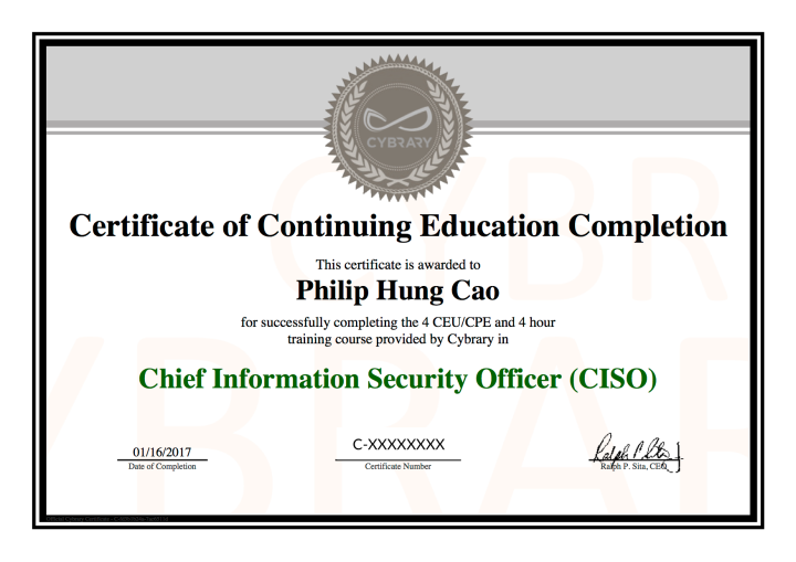 Cybrary Course: Chief Information Security Officer (CISO) – Certificate of Continuing Education Completion