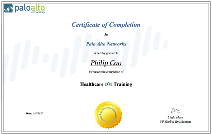 Healthcare 101Training – Certificate ofCompletion