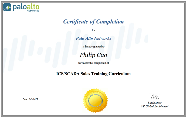 ICS/SCADA Sales Training Curriculum – Certificate of Completion