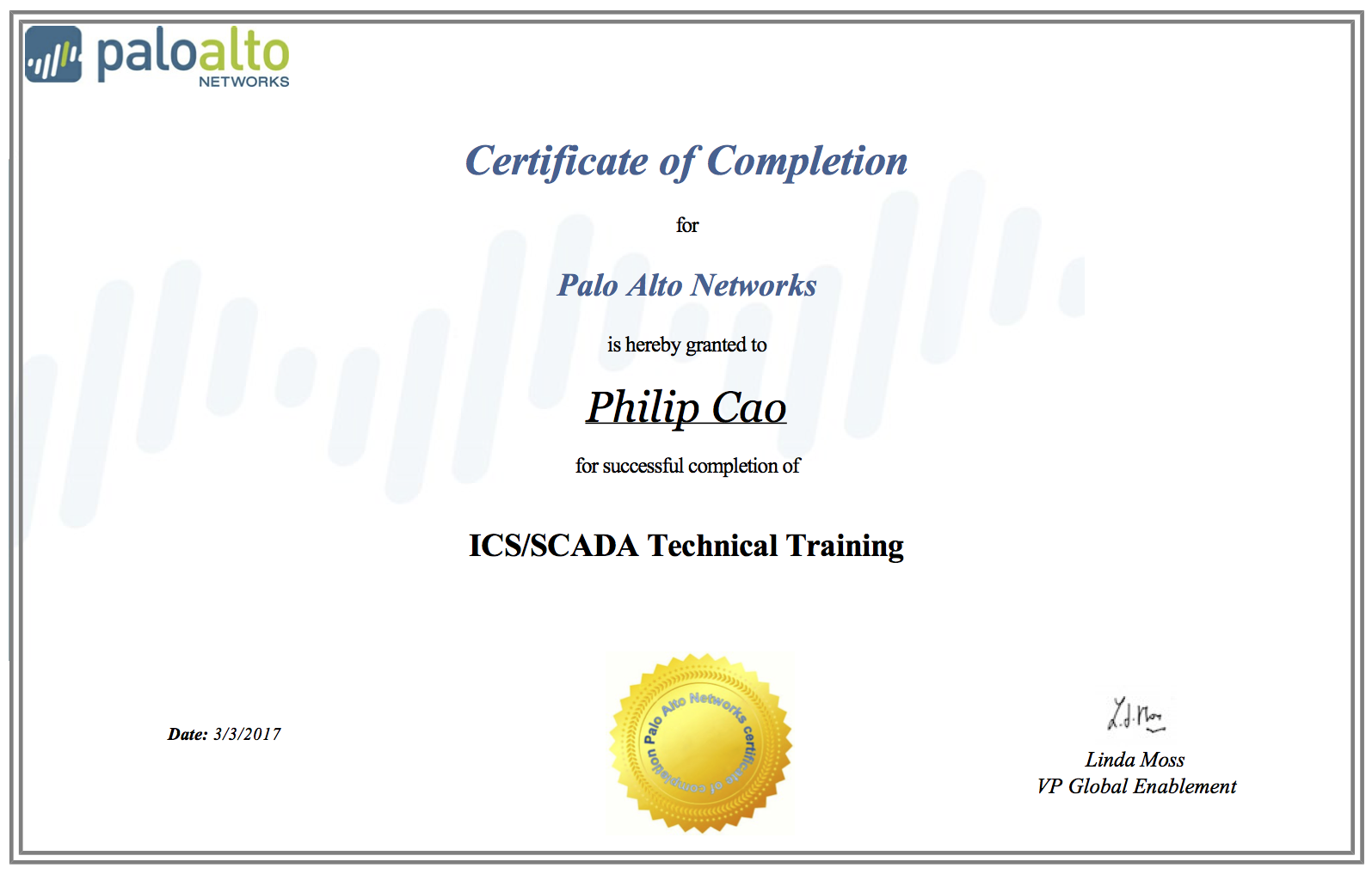2017 Philip Hung Cao Ics Scada Technical Training   Certificate Of Completion Training
