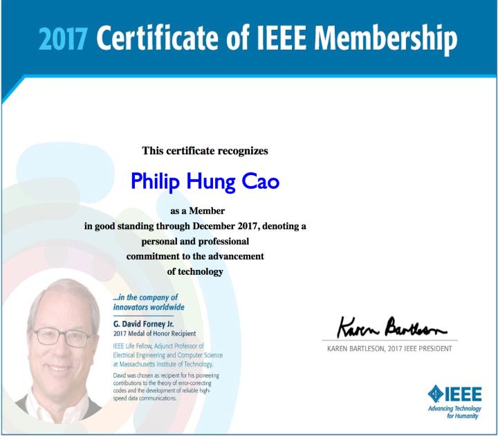IEEE – 2017 Certificate ofMembership