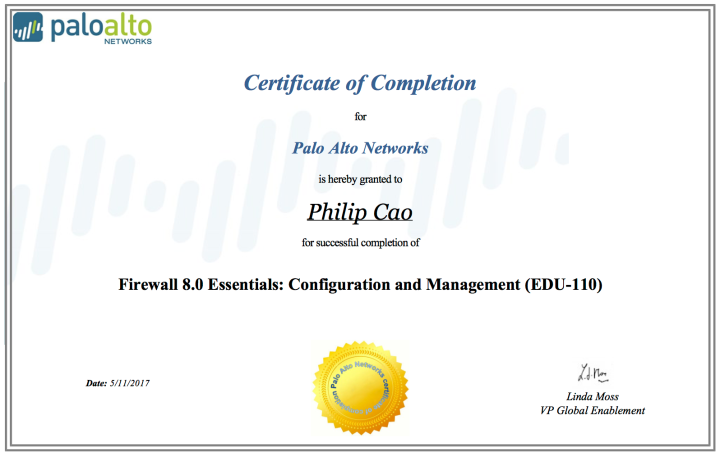 Firewall 8.0 Essentials: Configuration and Management (EDU-110) – Certificate of Completion