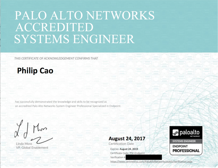 Palo Alto Networks Accredited Systems Engineer (PSE) – EndpointProfessional