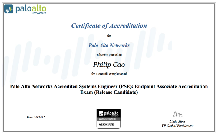 Palo Alto Networks Accredited Systems Engineer (PSE) – Endpoint Associate Accreditation Exam (ReleaseCandidate)
