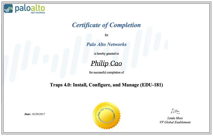 Traps 4.0: Install, Configure, and Manage (EDU-181) – Certificate ofCompletion