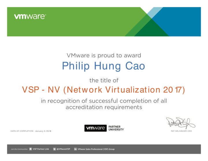VSP – NV (Network Virtualization 2017)