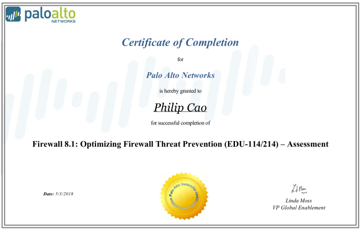 Firewall 8.1: Optimizing Firewall Threat Prevention (EDU-114/214) – Certificate of Completion