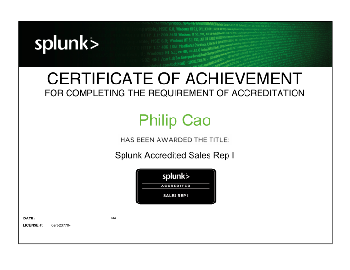 Splunk Accredited Sales Rep I – Certificate ofAchievement