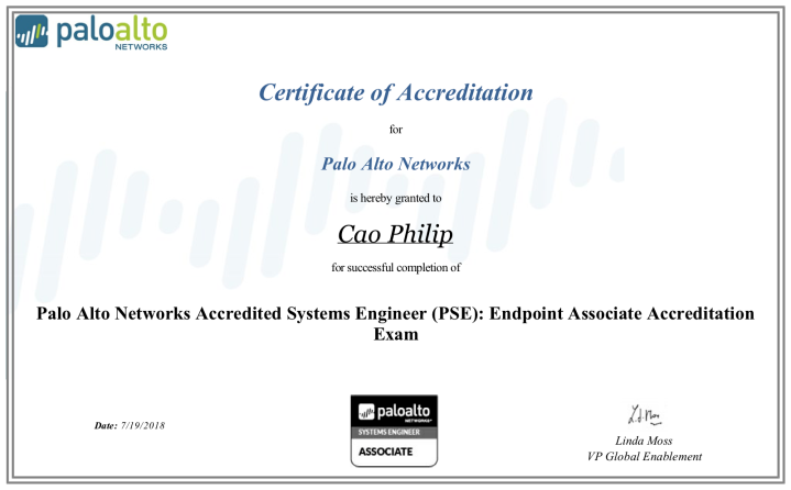 Palo Alto Networks Accredited Systems Engineer (PSE): Endpoint Associate Accreditation (version 5.0)