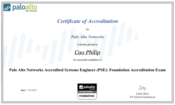 Palo Alto Networks Accredited Systems Engineer (PSE): Foundation Accreditation (published – May 25, 2018)