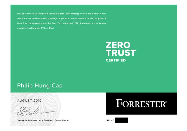 Forrester Zero Trust Strategist(ZTX-I)