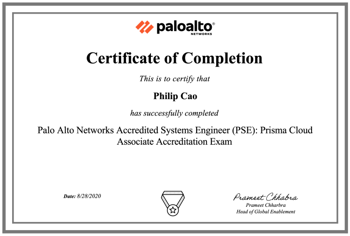 Palo Alto Networks Accredited Systems Engineer (PSE): Prisma Cloud Associate Accreditation (August 2020 update)