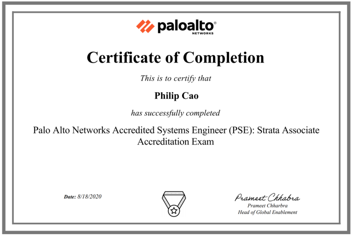 Palo Alto Networks Accredited Systems Engineer (PSE): Strata Associate Accreditation (PAN-OS 10.0 updated)