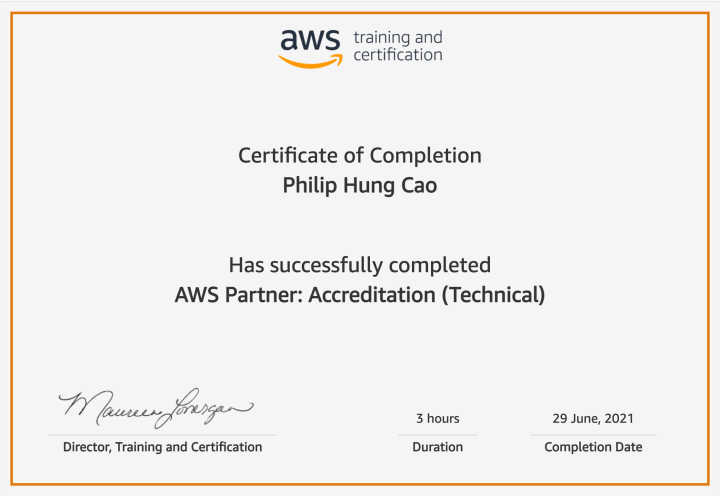 AWS Partner: Accreditation (Technical) – Certificate ofCompletion